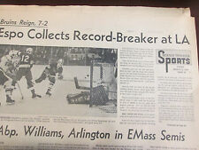 PHIL ESPOSITO AND BOBBY ORR SET NHL SCORING RECORDS ON SAME NIGHT L.A 3/11/1972