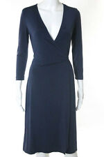 BCBGMAXAZRIA Blue Long Sleeve Wrap Front Dress Size S