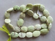 "14"" Strand Lemon Chrysoprase Gemstone Faceted Flat Oval Beads 11mm-15mm"