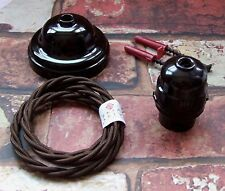 Vintage Pendant Kit Original Restored Bakelite Ceiling Rose & Lamp Holder Set 1