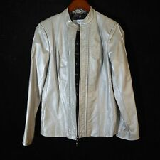Womens size Small Bradley Bayou Silver Metallic Leather Motorcycle Jacket