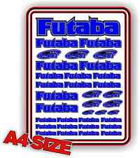FUTABA RC STICKER SET DECAL HELI AIRCRAFT NITRO ELECTRIC CAR 1/10 DRIFT BLUE