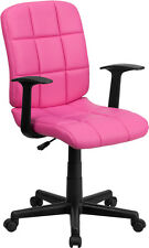 Mid-Back Pink Quilted Vinyl Task Chair with Nylon Arms / Office Chair