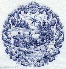 Delft Blue Christmas Carriage SET OF 2 BATH HAND TOWELS EMBROIDERED BY LAURA