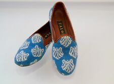 ZALO Spain Needlepoint Tapestry Loafers Driving Shoes Comfort Flats Sz 8 Blue