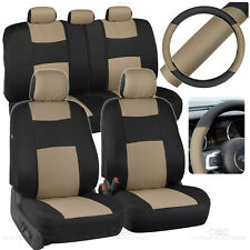 Car Seat Covers Steering Wheel Cover Beige Black 5 Headrests Split Option Bench