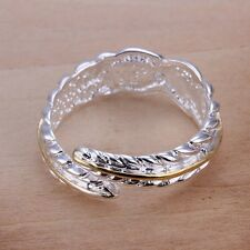 Women Men 925 Sterling Silver Plated Carved Feather Band Ring Jewelry US Size 8