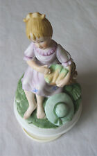 Impex Porcelain Girl Figurine Musical Rotating Wind-Up Ceramic Music Box Doll