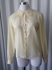 Vintage 50's Silk Hand Embroidered Pale Yellow Blouse