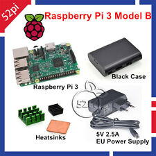 Raspberry Pi 3 Model B 1GB RAM + Heatsinks + ABS Case + 5V 2.5A Power Supply