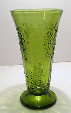 Colony (Indiana Glass) Harvest Pattern Vase in Green - 7-3/4 inches Tall - Used