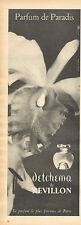 Publicité Advertising 1958  Parfum detchema de REVILLON parfum de paradis