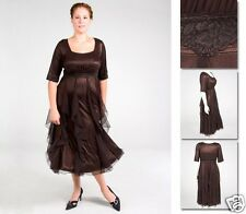 NEW Zaftique GALA DRESS Coffee Brown 0Z thru 6Z / 14 16 L XL 1X 2X 3X 4X 5X 6X
