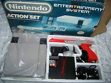 Nintendo Entertainment System Action Set Gray Console Original NES In Box