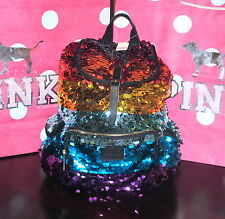 Victoria's Secret PINK Rainbow Bling Sequin Fashion Show Backpack Bag NEW