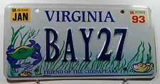 "Nummernschild USA aus Virginia ""FRIEND OF THE CHESAPEAKE"" mit Krabbe. 12932."