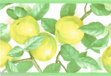 Yellow Apples Kitchen Fruits Green Leaves Tuscan Tuscany Wall paper Border RARE