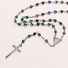 Christ Religious Jewelry Multi-Color 6mm Rosary Beads Chain Cross Necklace