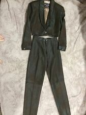 Patricia Wolf women's leather pant suit never worn size 10 dark brown