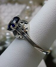 Victorian/Edwardian *Blue Sapphire* Sterling Silver Crown Filigree Ring, Size 8