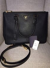 BRAND NEW AUTHENTIC PRADA SAFFIANO LUX BLACK DOUBLE ZIP MEDIUM TOTE BAG