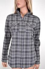 NEW BURBERRY BRIT WOMEN'S $295 COTTON BLEND CHARCOAL NOVA CHECK SHIRT~XS