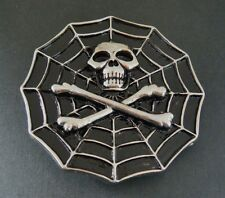 SPIDER WEB SKULL CROSSBONE SKELETON COOL BELT BUCKLE BELTS BUCKLES
