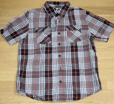 Boys Shawn White - Red Black Plaid short sleeved buttoned Shirt - MED 10-12 yrs
