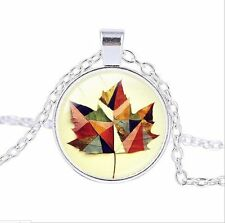 Maple Leaf photo Cabochon Glass Tibet Silver Chain Pendant Necklace #GY52