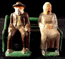 Couple On Park Bench Cast Iron Painted Figurines Grey Iron American Family