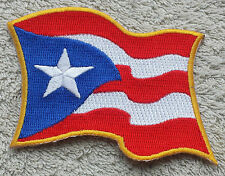 """PUERTO RICO WAVING FLAG PATCH Embroidered Badge Iron Sew 3.5"""" United States USA"""