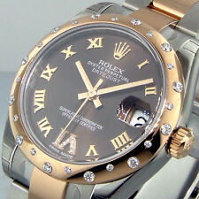 UNWORN ROLEX 178341 31 mm MID SIZE STEEL ROSE GOLD OYSTER DATEJUST BROWN DIAL
