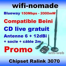 Carte Clé USB Wifi Blueway 2000mW antenne 6+12dBi + socle