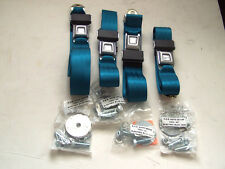 1965-1973 CLASSIC MUSTANG AFTER MARKET SEAT BELTS; ELECTRIC BLUE; SET OF 4!