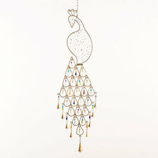 Glass Beaded Imperial Peacock Brass Finish Wind Chime Sun Catcher