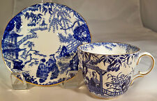 ROYAL CROWN DERBY BLUE MIKADO FLAT BASE CUP & SAUCER SET!