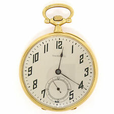 Vintage Touchon & Co. 18k Gold 21Jewel Open Face Swiss Black Enamel Pocket Watch