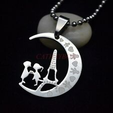 Stainless Steel Eiffel Tower Lovers Crescent Moon Love Symbol Pendant Necklace