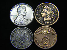 Nazi Coin 3rd Reich Indian Head & Steel Cent Higher Grade US German Lot