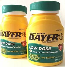 BAYER LOW DOSE 81mg ASPIRIN REGIMEN TABLETS 2x300 (600) ENTERIC COATED EX 09/18+