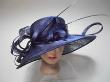Hat -NAVY BLUE Sinamay Wide Brim Kentucky Derby Church Dress Curls Spikes