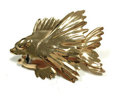 RARE Outstanding Vtg Signed NAPIER Gold Tone Tropical Beta Fish Brooch Pin EE21e