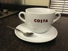 COSTA COFFEE LARGE CUP DOUBLE HANDLE WITH SAUCER AND SPOON MASSIMO MUG 20oz