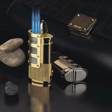 JOBON Triple 3 Jet Turbo Refillable Cigarette Cigar Torch Lighter w/ Lock Golden