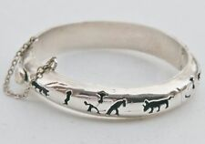 Taxco Mexico TC-04 Sterling Silver Shadowbox Bullfighting Bangle Hinged Bracelet