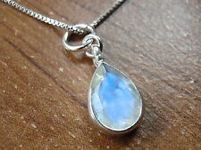 Very Small Faceted Rainbow Moonstone Pendant 925 Sterling Silver Tiny