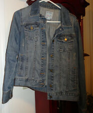 L Girls Old Navy ON Blue Jean Jacket Denim Distressed Trucker Cotton Adj Waist