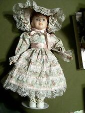 PORCELAIN 15 1/2'' DOLL IN VICTORIAN DRESS WITH STAND