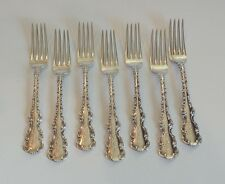 "SET/7 WHITING MFG. CO. ""LOUIS XV"" STERLING SILVER 6 7/8"" LUNCHEON/PLACE FORK"