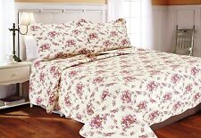 RED COTTAGE ROSE Full Queen QUILT SET : PINK SHABBY GARDEN ROSES CHIC COMFORTER